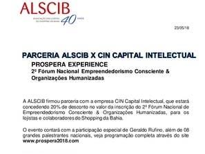 Parceria ALSCIB - 2º Forum Naciona Empreendedorismo Consciente
