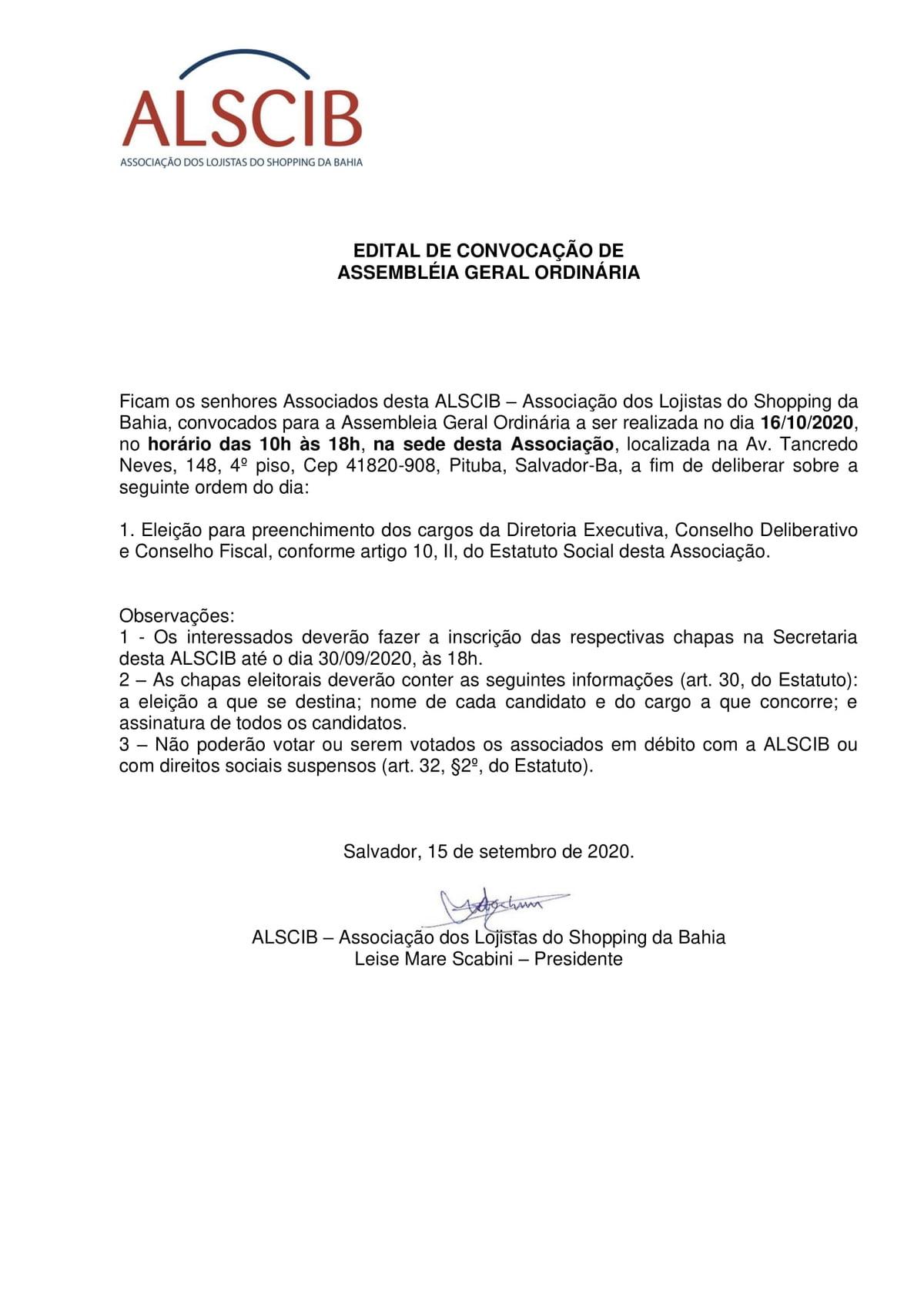 Edital Convocação de Convocação de Assémbléia Geral Ordinária
