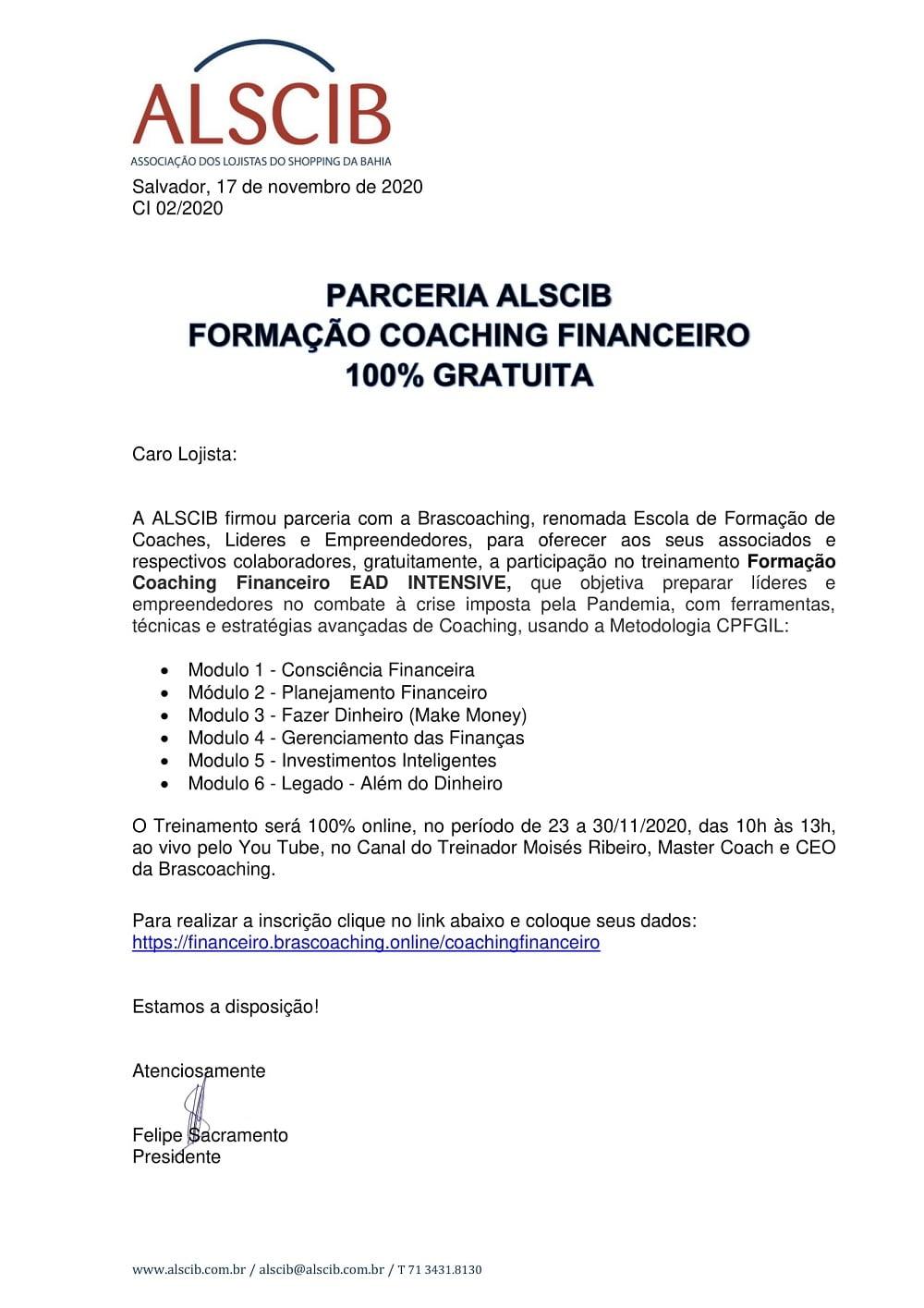 Parceria ALSCIB - Formação Coaching Financeiro - 100% gratuita