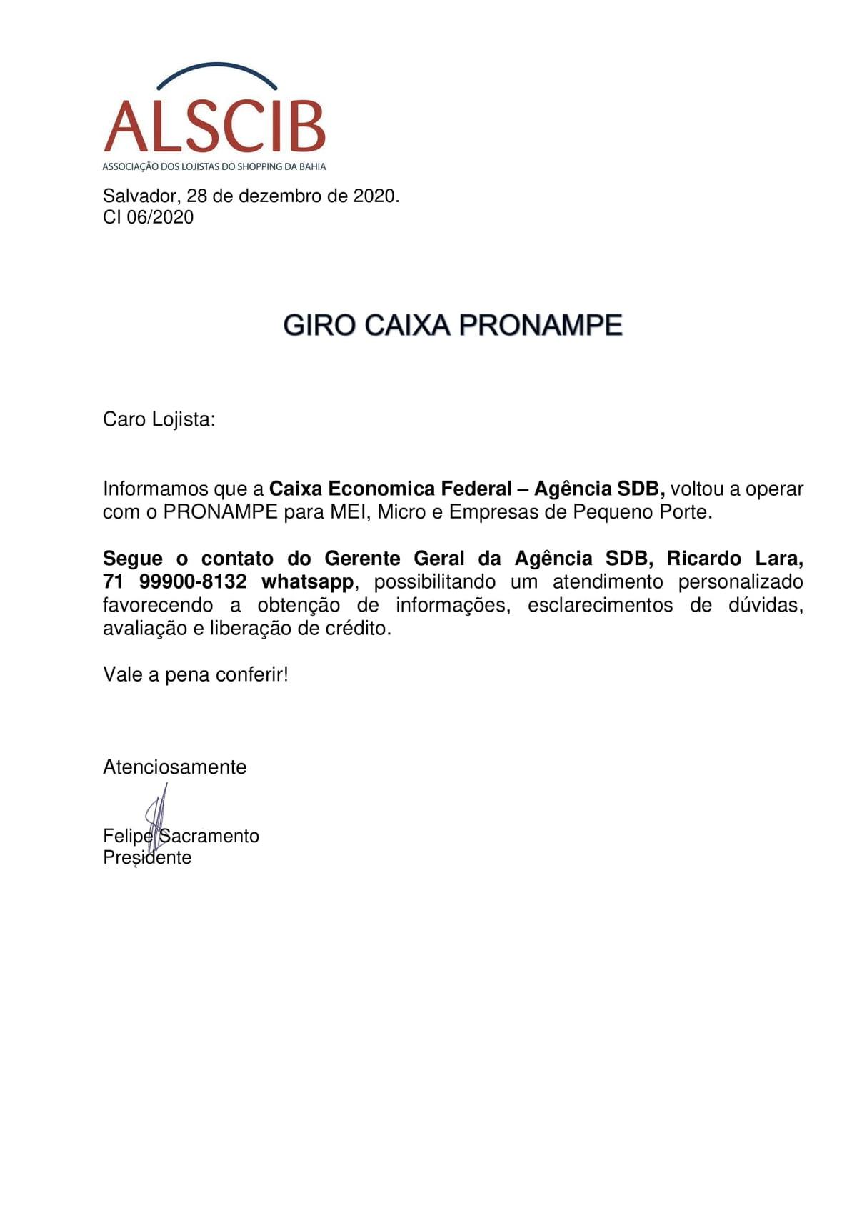 Giro Caixa Pronampe
